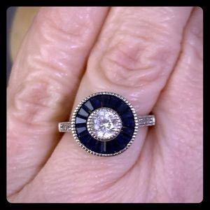 Jewelry - 925 Vintage Blue/White Zirconia Ring. Size 6.5-7